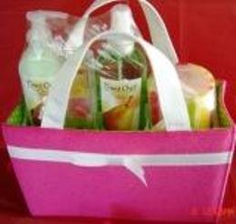 TIME OUT PERFECT PEAR 4 PC BATH SET WITH SHOPPER