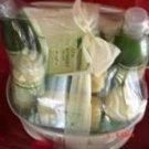 GREEN TEA & LEMON 9 PC SPA TREATMENT BATH SET W/ REUSABLE CASRRIER