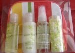 APPLE BLOSSOM 4 PC TRAVEL BATH SET WITH COSMETIC BAG