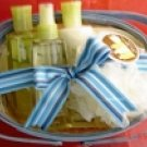 APPLE BLOSSOM 4 PC BATH SET WITH WOVEN BASKET