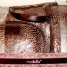 MODELLA 3 PC BROWN SNAKESKIN TRAVEL COSMETICS SET