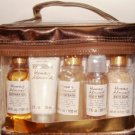 HONEY ALMOND MINI 5 PC TRAVEL BATH SET W/ VINYL CARRYING CASE