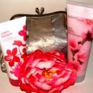 BATH & BODY WORKS CHERRY BLOSSOM 2 PC BATH SET WITH MULTI-COLOR CLUTCH PURSE