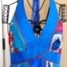 JNY WOMEN'S V-NECK BLUE AQUA SILK HALTER DRESS W/ TIE NECK, SIZES 8,12