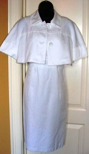 FOCUS 2-PC WOMEN'S WHITE ELBOW SLEEVE JACKET W/ V-NECK DRESS, SIZE 8