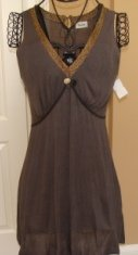 GRACIA V-NECK SLEEVELESS WOMEN'S GREY/GOLD TRIM TUNIC, SIZE MEDIUM