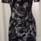 JNY WOMEN'S BLACK/WHITE FLORAL PRINT DRESS W/ BEADED NECKLINE, SIZES 6,8