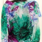 STOREE SHEER LONG SLEEVE WOMEN'S WATERCOLOR BLOUSE, SIZE SMALL