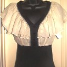 GRACIA WOMEN'S V-NECK IVORY/BLACK RHINESTONE BLOUSE, SIZE SMALL