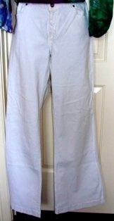 PZI CLASSIC WOMEN'S WHITE DENIM WIDE LEG JEANS, SIZE 18-34/R