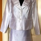ISABELLA 2 PC WOMEN'S WHITE RUFFEL COLLAR SUIT JACKET, SIZES 8,10