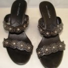 MATISSE WOMEN'S BLACK WEDGE SANDAL WITH DECORATIVE DESIGNS SIZE 7m
