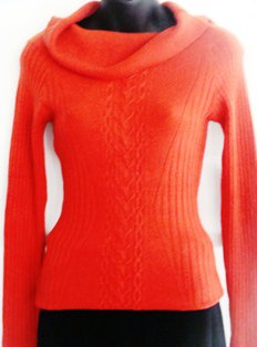 WOW COUTURE RUST OFF SHOULDER SWEATER, SIZE MED 10-12