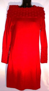 CHETTA B WOMEN'S RED SWEATHER DRESS W/ OFF SHOULDER COWNECK COLLAR, SIZES SM