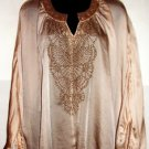 BLACK BEADED BAT WING SLEEVE BEIGE TOP, SIZE LG (14)