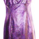 MUSE SLEEVELESS DEEP PURPLE SNAKESKIN EMPIRE BODICE DRESS SIZE, 4, 8,14