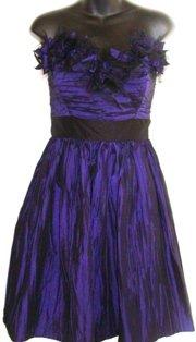 MAGGY LONDON BLACK/PURPLE STRAPLESS COCKTAIL DRESS SIZE, 10