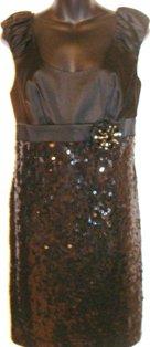 CHETTA B SLEEVELESS BLACK SEQUIN EMPIRE WAIST DRESS SIZE, 14