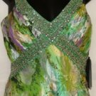 NINA AUSTIN MULTI-GREEN FLOWER FLORAL SLEEVELESS & OPEN BACK GOWN SIZE, SM