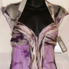 NINA AUSTIN MULTI-PURPLE RUFFLE CAP SLEEVE TOP GOWN SIZE, X-SM