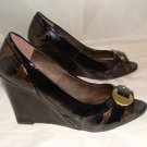 "MADELINE WOMEN'S FASHION JAYDEN BLACK PATENT 4"" WEDGE HEELS W/ OPEN TOE SIZE 6.5, 10"