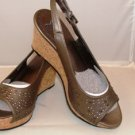 MADELINE WOMEN'S VELVET BLUSH OPEN TOE FASHION CORK HEEL SANDAL SIZE, 8, 9, 10