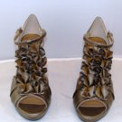 "MADELINE WOMEN'S GEORGI OLD GOLD 4"" OPEN TOE ANKLE STRAP HEEL SIZE 8"