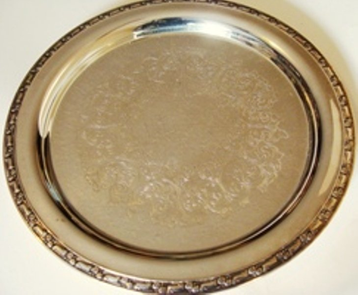 """Wm ROGERS VINTAGE SILVERPLATED ETCHED 12"""" DIAM. SERVING TRAY"""