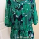 LUCIE LU ANNALISE GREEN PRINT SHEER BLOUSE SIZES 1X, 2X