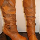 BROWN SLOUCH WOMEN BOOTS W/ WRAP-AROUND BUCKLE SIZE 8