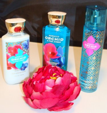 B & BW MOROCCO ORCHID AND PINK AMBER 3 PC BATH AND BODY SET