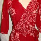 J & M RED PRINT 3/4 SLEEVE WRAP DRESS SIZE S