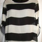 RACHEL KATE WOMEN'S BLACK & WHITE STRIPED BLOUSE SIZES SM 6-8, MED 10-12