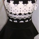 ADRIENNE BLACK/WHITE CAP SLEEVE PEPLUM DRESS SIZE S, M