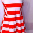 POEMA CORAL/WHITE SLEEVELESS SKATER DRESS SIZE LARGE
