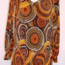 VERONICA-M LONG SLEEVE BROWN TINGED PRINT TUNIC SIZES SM, MED