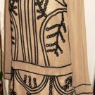 GRACIA TAUPE & BLACK LONG SLEEVE EMBROIDERED SHIFT DRESS SIZE SM