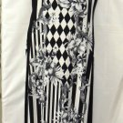 SYMPHONY SLEEVELESS BLK/WHT PRINT MAXI DRESS PLUS SIZE 1X, 2X, 3X