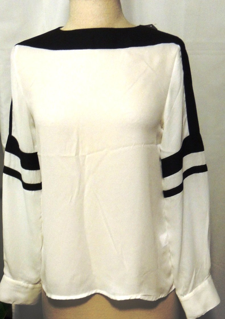 GRACIA LONG SLEEVE BLACK/WHITE BLOUSE SIZE SM, MED