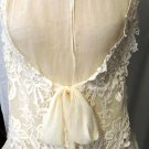 GRACIA CREAM COLOR SLEEVELESS SHEER LACE TOP SIZE SM, MED