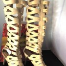 MACHI TAN HIGH HEEL CAGED STUDDED KNEE-HIGH STRAPPY GLADIATOR SANDAL BOOTS SIZES; 6, 8, 8.5