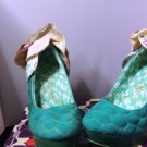 IRREGULAR CHOICE SWEET BIRD TURQUOISE HEELS SIZE 9