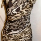 ALBERTO MAKALI BROWN ONE SHOULDER COCKTAIL DRESS W/ SCARF SIZE 4, 8