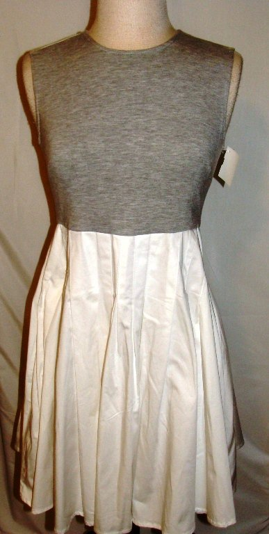 GRACIA SLEEVELESS WHITE/GRAY PLEATED FIT & FLARE DRESS SIZE, S, M