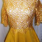 GRACIA DECORACTIVE GOLD SHORT SLEEVE LASER CUT PEPLUM TOP SIZE, SM, MED