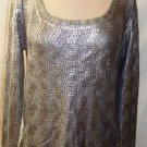 GRACIA LONG SLEEVE CABLE KNIT METALLIC SILVER SWEATER, SIZE, LG