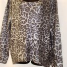 GRACIA LEOPARD PRINT GRAY/BLACK METALLIC KNIT SWEATER SIZE, MED, LG