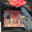 PLAYBOY PLAY IT LOVELY, ROCK, & VIP 3 PC WOMEN'S PERFUME GIFT SET