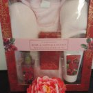 SIMPLE PLEASURES 5 PC PINK VANILLA ROSE ROBE & SLIPPER BATH SET
