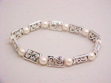 Silver Pearl Charm Bracelet